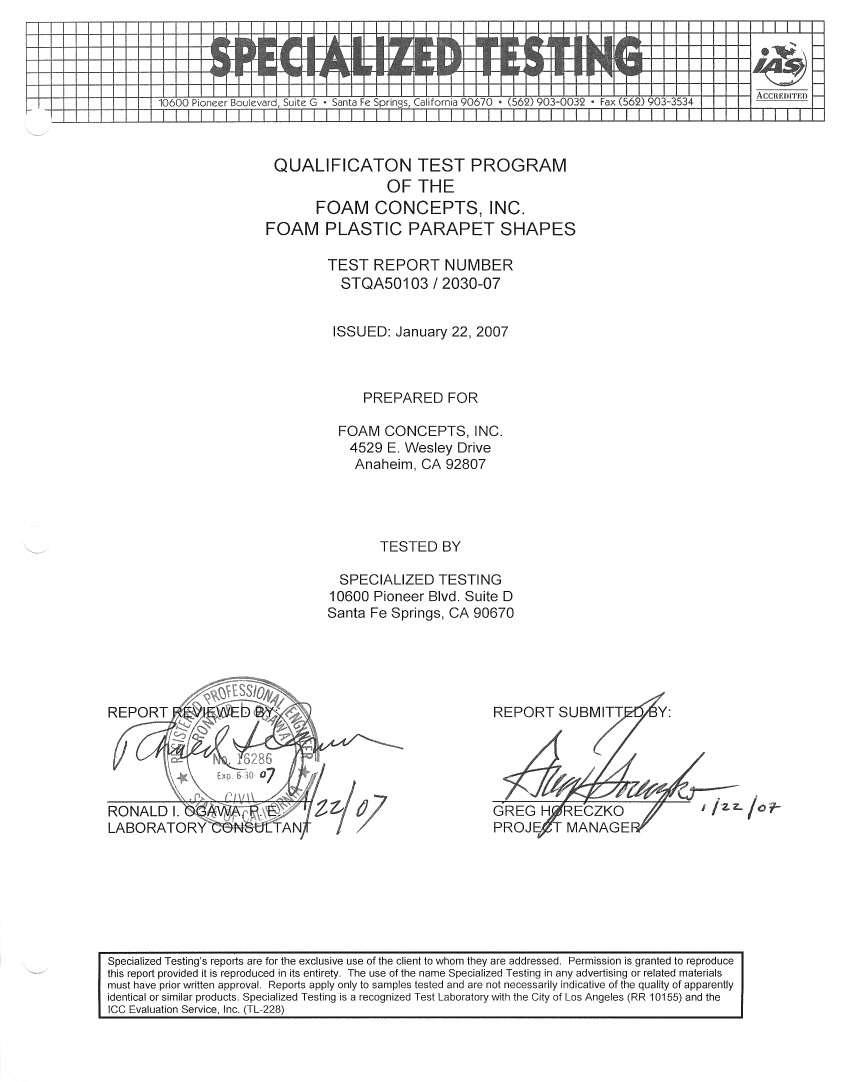 qualification testing cover sheet